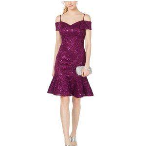 Purple Sequined Short Sleeve Off Shoulder Dress